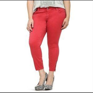 Torrid Ankle Zipper Stiletto Skinny Red Jeans